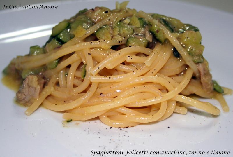 Spaghettoni Felicetti con zucchine, tonno e limone